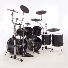 A great and sexy ass looking black matte and black chromed finished drum kit with gibraltar drum racks Drum Band, Band B, Electric Drum Set, Electric Guitars, Girl Drummer, Mundo Musical, Rock And Roll, Best Drums, Pearl Drums