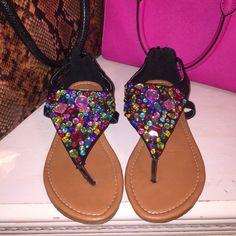 Steve Madden bejeweled sandals Steve Madden shoe w/ Multi color jewels. Only worn once. Make an offer! Steve Madden Shoes Sandals