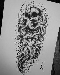 A imagem pode conter: desenho Octopus Tattoo Sleeve, Octopus Tattoos, Skull Tattoos, Black Tattoos, Body Art Tattoos, Sleeve Tattoos, Poseidon Tattoo, Poseidon Drawing, Tattoo Design Drawings