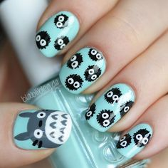 Having short nails is extremely practical. The problem is so many nail art and manicure designs that you'll find online Diy Nails, Cute Nails, Pretty Nails, Nail Nail, Nail Art Kawaii, Nagellack Design, Cute Nail Art Designs, Creative Nails, Totoro
