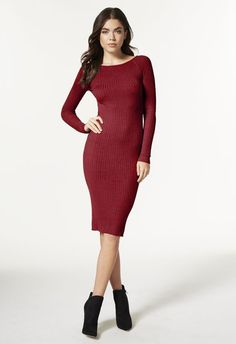 Crewneck Ribbed Sweater Dress in Oxblood - Get great deals at JustFab