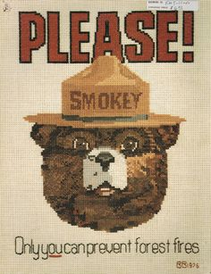 Smokey The Bear & Woodsy Owl Vintage Cross Stitch Chart Katrina Designs - Give A Hoot Don't Pollute by BusyBeaverBoutique on Etsy
