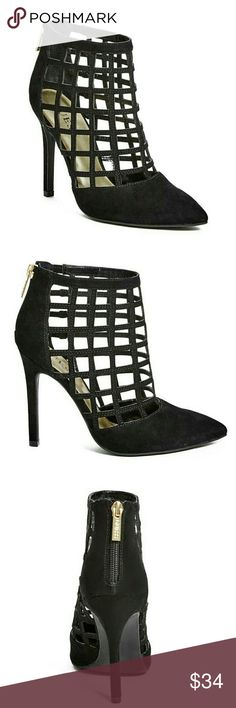 """Gorgeous Guess Caged Heels Black Brand new in box! These black caged heels by guess are so sexy! Faux-suede heels feature pointed toe and caged design. Zipper closure at back ankle.  4"""" heel Material: Synthetic Guess Shoes"""