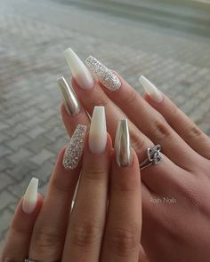 86 beautiful nail designs for 2019 - Page 75 of 86 - lovenailstyle Posh Nails, Polygel Nails, Stiletto Nails, Fun Nails, Pretty Nails, Coffin Nails, Glitter Nails, White Acrylic Nails, Best Acrylic Nails