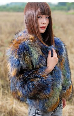 New Real 100% Fur  Raccoon Women Coat Jacket Overcoat Garment #Furfox #BasicJacket