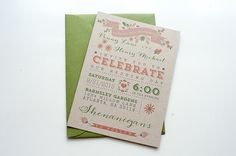 Wedding Invitation / / Rustic & Modern Kraft Paper Invite / / Pink, Green and Kraft Calligraphy on Etsy, $3.15 AUD
