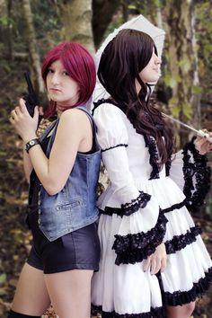 #lolita #redhair #umbrella #gun #hotpants #cosplay #demonhunter