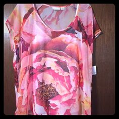 Liz Claiborne NEW cute fresh summer top Pretty summer flowy top. Brand new never worn. Attached white tank underneath for an easy pulled together look with capris or jean shorts! Beautiful pinks and peach colors. Liz Claiborne Tops