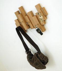 Coat Rack: Asymmetric Oak Blocks by MijMoj