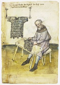 Ethnographic Arms & Armour - Research on a fine medieval German mail shirt. Medieval Life, Medieval Armor, Medieval Manuscript, Illuminated Manuscript, Gothic Text, Renaissance, Medieval Crafts, Late Middle Ages, Historical Art