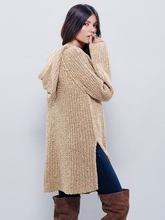 Underground Hoodie | Textured loose-knit hoodie with a drawstring neckline and slit sides. The perfect tunic length and transitional weight for effortless layering.