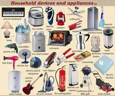"Household Devices and Appliances Vocabulary in English – ESLBuzz Learning English ""Household Devices & Appliances"" Vocabulary in English – ESL Buzz English Time, Learn English Words, English Class, English Lessons, Grammar And Vocabulary, English Vocabulary, English Grammar, English Language Learning, Teaching English"