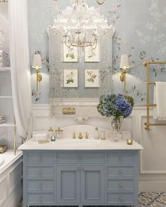 Too fancy but I like the wall paper and wainscoting. The vanity is about the size of the powder room vanity. J Too fancy but I like the wall paper and wainscoting. The vanity is about the size of the powder room vanity. Dream Bathrooms, Beautiful Bathrooms, Blue Bathrooms, Country Bathrooms, French Country Bathroom Ideas, French Bathroom Decor, Cottage Style Bathrooms, Bathroom Vintage, Country French