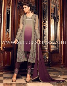 Designer Teal Grey and Wine Georgette Embroidered Churidar Palazzo Suit