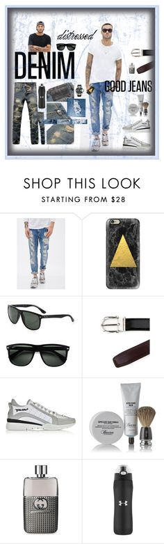 """""""distressed DENIM - good jeans"""" by lovesparisstudio ❤ liked on Polyvore featuring 21 Men, Casetify, Ray-Ban, Salvatore Ferragamo, Dsquared2, Baxter of California, Gucci, Under Armour, Diesel and mens"""