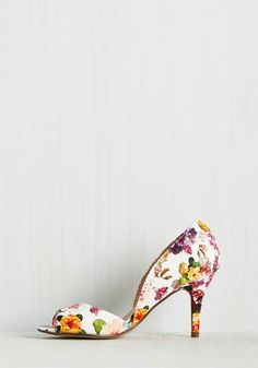 Spring to Mind Heel. Those romantic reveries under the shade of your Magnolia tree are brought to life by donning these white floral heels. #white #wedding #bridesmaid #modcloth