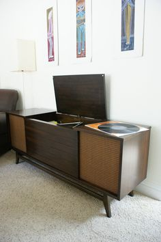 so like Dad's stereo console. He used to play Beethoven at night to soothe us to sleep. He thought the Chopin Polonaise's to be too Vintage Radio Record Player Console. Record Player Console, Radio Record Player, Record Players, Record Player Furniture, Stereo Cabinet, Record Cabinet, Vintage Record Player Cabinet, Vintage Stereo Console, Vinyl Record Storage