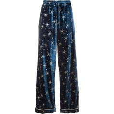 Valentino star embroidered velvet pyjama pants ($2,980) ❤ liked on Polyvore featuring pants, bottoms, pajamas, jeans, trousers and blue