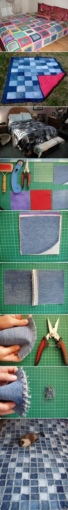 DIY Sew Denim Bedspread Recycled Upcycled denim old jeans RECICLAR REUTILIZAR VIEJOS PANTALONES TEJANOS COLCHAS PATCHWORK