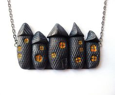 Oh my gosh I LOVE this necklace!!!! $23 #halloween #spooky #house #necklace #handmade #etsy #jewelry #black #holiday #orange #costume #clay