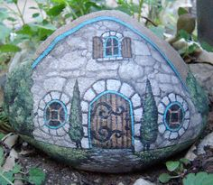 STONE GARDEN HOUSE- Cute! Hand painted rock house for the garden.