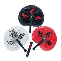 Chinese Character Folding Fans - OrientalTrading.com  $3.50 per dozen (they have other colors/designs, some more expensive though)