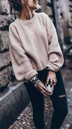 #summer #outfits  Blush Knit + Black Ripped Skinny Jeans