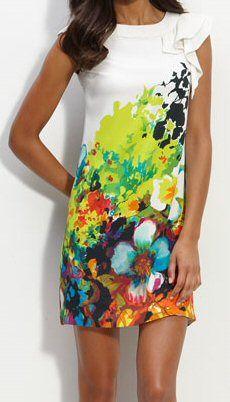 ECI Print Shift Dress, $138 I love the look for summer!