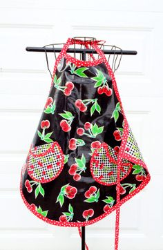 Black Cherry Oilcloth Apron  Reversible Cherry by LindasOtherLife, $40.00