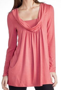 01b7f79c8da La Redoute CORAL red cowl neck long sleeve tunic top blouse UK 4 6 EU 32