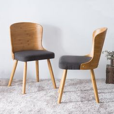 Shop Corvus Calvados Mid-Century Modern Bamboo Dining Chairs (Set of - On Sale - Overstock - 18526096 - Dark Grey