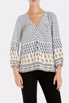JOIE Sonoma 3/4-Sleeve Paisley Silk Top - Faded Sky | Keaton Row