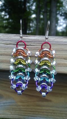 Rainbow Glass Caterpillar Glass and Chainmaille by galiam34jewelry, $18.00