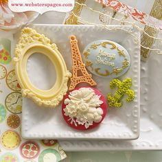 Websters Pages - Postcards from Paris II Collection - Perfect Accents - Resin Embellishment Pieces