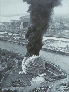 American Pavilion on fire 20 May 1976.  Originally built for Montreal World's Fair 1967, designed by Buckminster Fuller