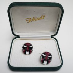 F. HINDS Vintage NOS Pair Enamelled MAORI Cufflinks Box; FREE Shipping Worldwide - £65