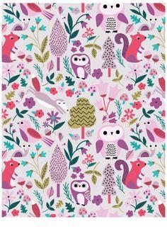 cute woodland animals print by Kirsti Davidson