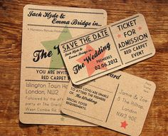 A Bird & A Bee's 'Red Carpet' wedding stationery range, including invite, save the date ticket and RSVP postcard. http://www.abirdandabee.co.uk/#/red-carpet/4558110129