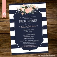 Nautical striped navy blue and coral bridal shower card a nautical nautical striped navy blue and coral bridal shower card a nautical striped bridal shower invitation featuring navy blue and white stripes with cor filmwisefo