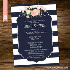 Bridal Shower Invitation Elegant navy blue by PrettyInvitingPrints                                                                                                                                                                                 More