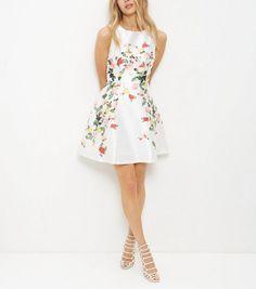 Blue Vanilla White Floral Print Sleeveless Dress | New Look