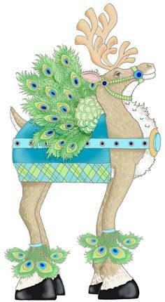 Decked Out Reindeer, Peacock -- by Ronnie Rooney