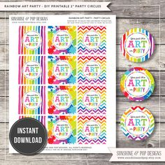 INSTANT DOWNLOAD - Rainbow Art Party Party Circle Favor Tags - printable decorations sticker cupcake topper Paint Party - DIY Printable