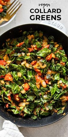 These delicious vegan collard greens are simple enough for a weeknight meal but have enough flavor to serve to guests or as a Thanksgiving side dish. Quick and easy to make, they come together in less than 30 minutes. Vegan Side Dishes, Side Dish Recipes, Veggie Recipes, Whole Food Recipes, Oven Recipes, Veggie Food, Food Food, Easy Recipes, Recipies