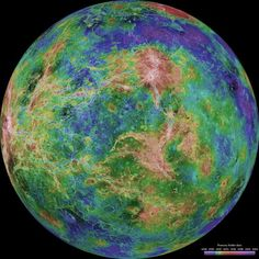 The hemispheric view of Venus, as revealed by more than a decade of radar investigations culminating in the 1990-1994 Magellan mission, is centered at 270 degrees east longitude. The composite image was processed to improve contrast and to emphasize small features, and was color-coded to represent elevation.
