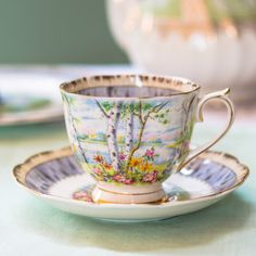 Vivid vintage Royal Albert 'Silver Birch' teacup and saucer, a lovely teacup to sip tea from