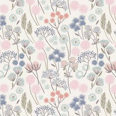 8 REMNANT - Make Another Wish by Lewis and Irene, Pattern Hedgerow Flowers on White, Pastel Floral Pattern design Estampado textil Pastel Floral, Textile Patterns, Print Patterns, Floral Patterns, Horse Quilt, Most Beautiful Wallpaper, Motif Floral, Surface Pattern Design, Repeating Patterns