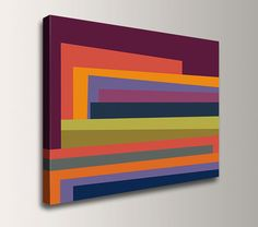 Large Abstract Painting - Original Modern Art - 24x32 Gallery Wrapped Canvas Print - Colorful Geometric Wall Decor