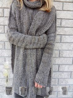 Chunky knit mock neck grey sweater