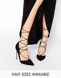 ASOS+PILOT+Lace+Up+Pointed+High+Heels